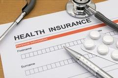Ziektekostenverzekeringaanvraagformulier Stock Afbeeldingen