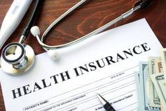 ziektekostenverzekeringvorm royalty-vrije stock afbeeldingen