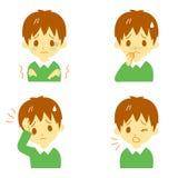 Ziektesymptomen 01, jongen stock illustratie