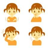 Ziektesymptomen 01, meisje vector illustratie