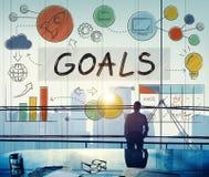 Ziel-Daten-Auftrag-Ziel-Aspirations-Konzept Stockbilder