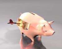 Ziel der Piggy Querneigung, der Banknote und des Pfeiles Stockbilder