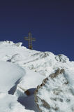 Ziel erreicht in den Alpen Lizenzfreie Stockfotografie