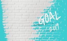 Ziel 2019, färbt Spritzen auf Beschaffenheitsbacksteinmauer, für dekoratives Netz und grafischer abstrakter Hintergrund, feiern n lizenzfreie stockbilder
