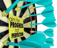 Ziel für Fortschritts-nicht Perfektions-Dartscheibe-Verbesserung Lizenzfreies Stockbild