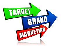 Ziel, Marke, vermarktend in den Pfeilen Stockbild