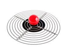 Ziel mit einer roten Kugel Stockfoto
