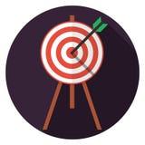 Ziel mit Pfeilikone im flachen Design vektor abbildung