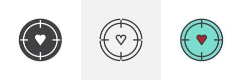 Ziel mit verschiedenen Artikonen des Herzens Stockfoto