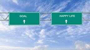 Ziel und glückliches Leben stockbild