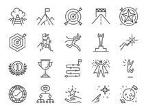 Ziel- und Leistungsikonensatz Schloss die Ikonen wie erzielen, Erfolg, Ziel, Schaltplan, Ende ein, feiert, glücklich und mehr lizenzfreie abbildung