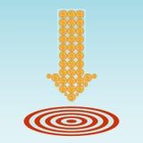 Ziel und Münzen vektor abbildung