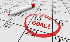 Ziel vollenden erzielen das eingekreiste Auftrag-Kalender-Wort stock abbildung