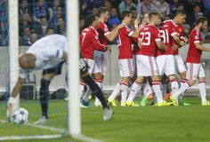Ziel Wayne Rooney Champion League FC Brügge - Manchester United Stockbild