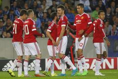 Ziel Wayne Rooney Champion League FC Brügge - Manchester United Lizenzfreie Stockfotografie