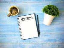 Ziel 2018 Wort-Plan-Ideen-Aktion und Geldsack Lizenzfreie Stockbilder
