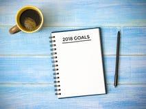 Ziel 2018 Wort-Plan-Ideen-Aktion und Geldsack Lizenzfreie Stockfotografie