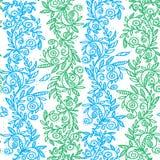 Zieleń i błękitni kwiaty wręczamy patroszonego bezszwowego wzór również zwrócić corel ilustracji wektora Obrazy Royalty Free