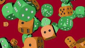 Zieleń i Pomarańczowe kolor kostki do gry Zderzający się zbiory wideo