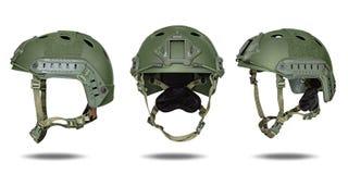 Zieleń, khaki militarny hełm Fotografia Royalty Free