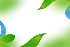 zieleń liście i falowy abstrakcjonistyczny tło Fotografia Stock