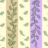 Zieleń liście na kolorowych lampasach ilustracja wektor