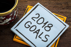 2018 Ziele - Anzeigenanmerkung mit Kaffee Lizenzfreie Stockbilder