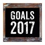 Ziele 2017 auf der Weinlesetafel lokalisiert auf weißem Hintergrund Stockbilder
