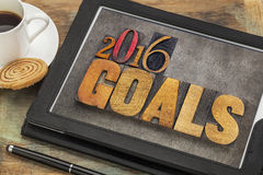 2016 Ziele auf digitaler Tablette Lizenzfreies Stockfoto