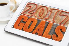2017 Ziele auf digitaler Tablette Lizenzfreies Stockfoto