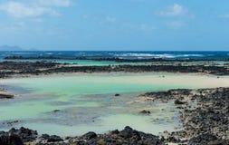 Zieleń baseny, Playa Caleton Blanco, Lanzarote, wyspa kanaryjska Obraz Royalty Free