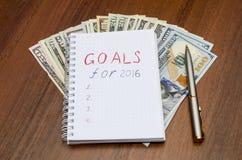 2016 Ziele begrifflich auf hölzernem Stockfotos