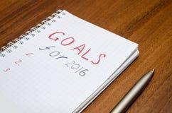 2016 Ziele begrifflich auf hölzernem Stockfoto
