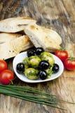 ziele chlebowe świeże zielone oliwki Fotografia Stock