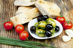 ziele chlebowe świeże zielone oliwki Obrazy Royalty Free