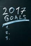 Ziele der Aufschrift 2017 es Liste gezeichnet mit Kreide auf einer Schultafeldunkelheit Lizenzfreie Stockbilder