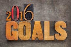 2016 Ziele in der Briefbeschwererholzart Lizenzfreie Stockfotos
