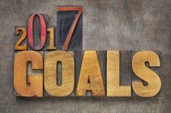 2017 Ziele in der Briefbeschwererholzart Stockfotos