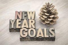Ziele des neuen Jahres fassen Zusammenfassung in der hölzernen Art ab Stockbild