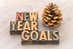Ziele des neuen Jahres fassen Zusammenfassung in der hölzernen Art ab Stockfoto
