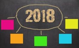Ziele des neuen Jahres 2018 oder Beschlüsse - bunte klebrige Anmerkungen Stockfotos