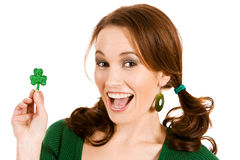 Zieleń: Excited O St Patrick dniu Obraz Royalty Free
