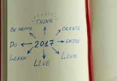 Ziele für 2017 geschrieben in den Organisator Stockbilder