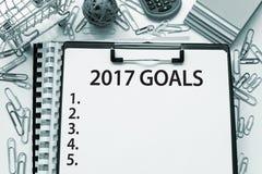 Ziele für Liste des neuen Jahres 2017 Stockfotografie