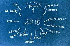 2016 Ziele geschrieben auf Pappe Lizenzfreies Stockbild