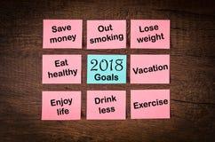 Ziele oder Beschlüsse 2018 des neuen Jahres Stockfotos
