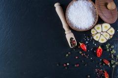 Ziele, pikantność, czosnek i morze sól nad czernią, drylują tło fotografia royalty free