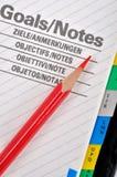 Ziele und Lernziel Stockfotos