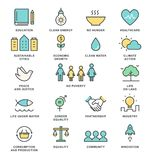 Ziele und nachhaltige lebende Durchführungs-Konzept-Linie Art Vector Icons der nachhaltigen Entwicklung Stockbilder