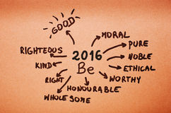 Ziele 2016 werden auf orange Pappe geschrieben Lizenzfreie Stockfotos